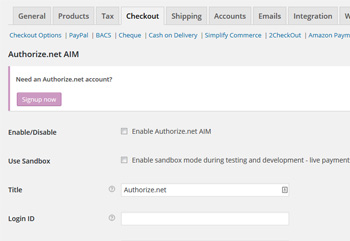 Authorize AIM Payment Gateway